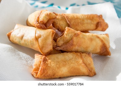homemade deep fried spring rolls with selective focus
