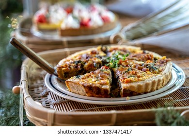 Homemade delicious Caramelized onion tart, spinach quiche