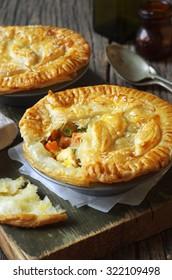 Homemade delicious chicken pies. Selective focus