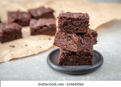 Homemade Delicious Chocolate Brownies. closeup chocolate cake.