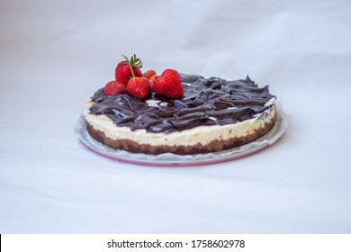 homemade delicious chocolate cake with strawberries with white background