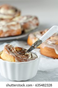 Homemade delicious cinnabon rolls with cinnamon and mascarpone frosting.
