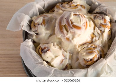 Homemade  delicious cinnabons cinnamon rolls with cream cheese frosting