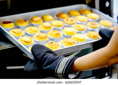 homemade delicious egg tart in oven