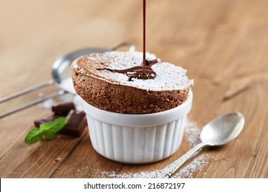 Homemade delicious individual chocolate souffle
