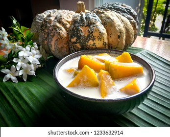 Homemade desert : Pumpkin with coconut milk, sweet and nutty coconut milk with tender pumpkin texture, Thanksgiving concept.