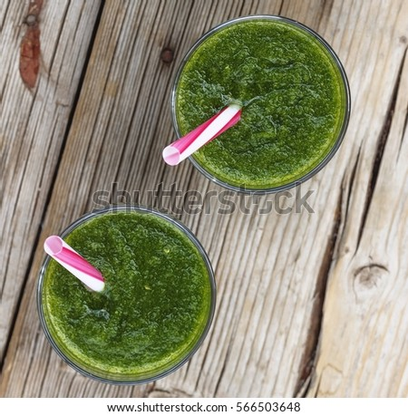 Homemade detox drink made from spinach, cucumber, kiwi, avocado. Green products,