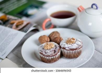 Homemade Dietary muffins. Wallnuts.