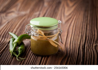 Homemade DIY natural hot chilli sauce sriracha made of green jalapeno