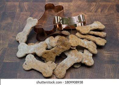 Homemade dog biscuits bone shape