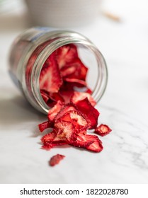 Homemade dried fruit strawberries in a jar