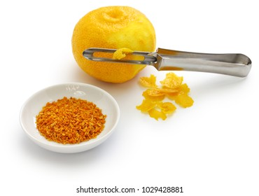 homemade dried Yuzu( Japanese aromatic citrus) zest, japanese cuisine ingredient