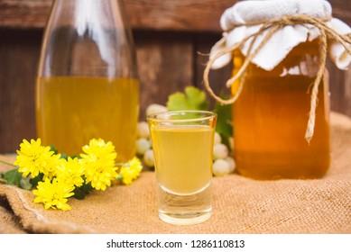 Homemade drink of brandy and honey