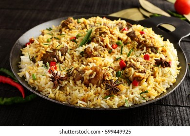 Homemade dum mutton or lamb biriyani from authentic Indian cuisine.