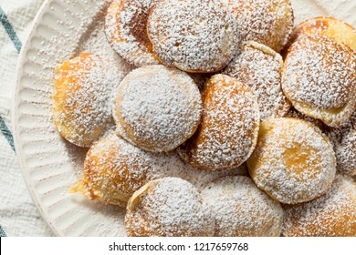 Homemade Dutch Poffertjes Pancakes with Powdered Sugar