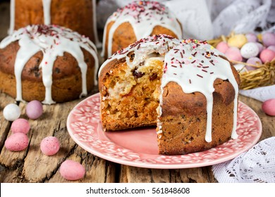 Homemade Easter cake with with traditional decoration , Easter recipe