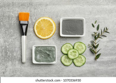 Homemade effective acne remedies and ingredients on grey background, flat lay