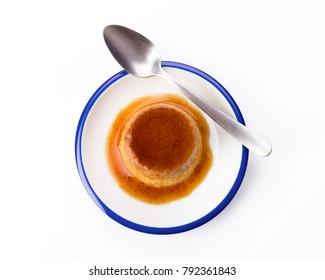 homemade egg flan on dish