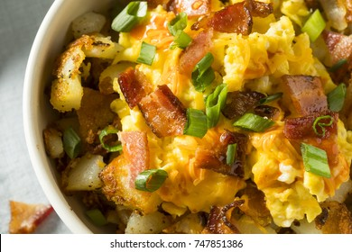 Homemade Egg and Potato Breakfast Bowl with Bacon