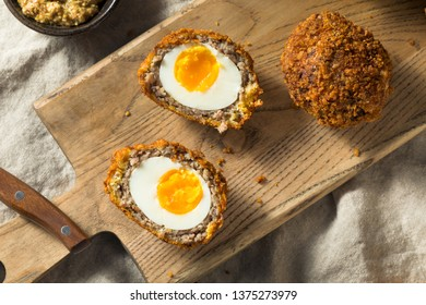 Homemade English Scotch Eggs Wrapped in Sausage