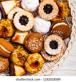 Homemade European Bakery Style Assorted Mixed Cookies Background Dessert. Selective focus.