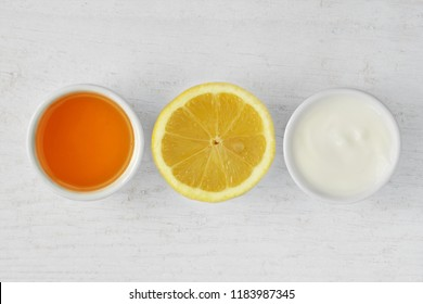 Homemade face mask made out of honey, lemon and yogurt