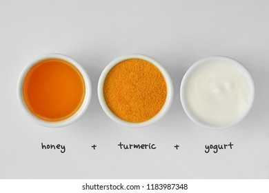 Homemade face mask made out of honey, turmeric and yogurt