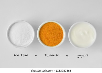 Homemade face mask made out of rice flour, turmeric and yogurt