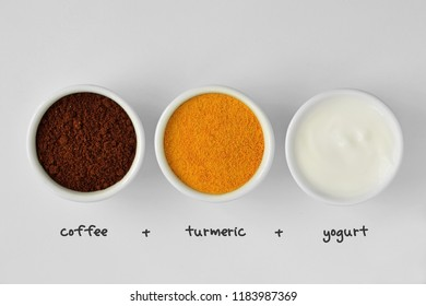 Homemade face mask made out of coffee, turmeric and yogurt