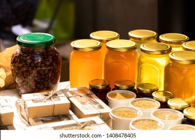 Homemade farm honey on the market