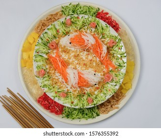 Homemade festive cuisine / Carp Fish Vegetarian Prosperity Toss / Made entirely of vegetables and fruits. In chinese belief fish or yu means abundance and prosperous