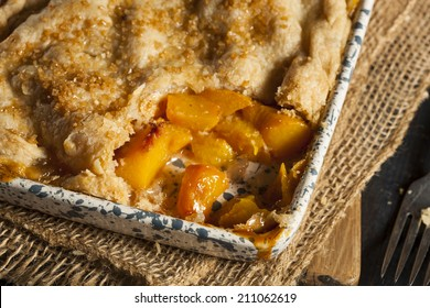 Homemade Flakey Peach Cobbler in a Dish