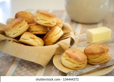 Homemade flaky buttermilk biscuits with butter