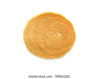 Homemade flourless oatmeal pancake isolated on white background. Top view.