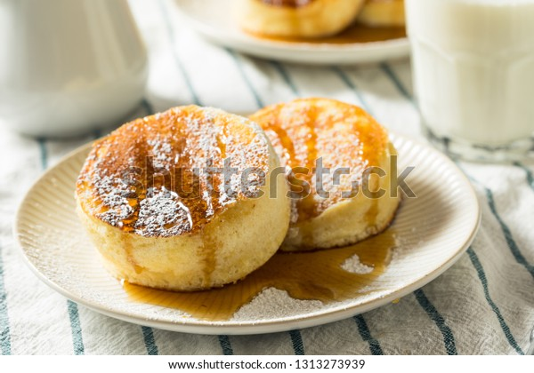 Homemade Fluffy Japanese Pancakes with Powdered Sugar