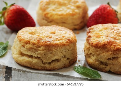 Homemade fluffy sour cream biscuits, selective focus