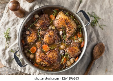 Homemade French Coq Au Vin Chicken with Veggies and Sauce