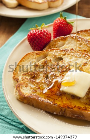 Homemade French Toast Butter Powdered Sugar Stock Photo