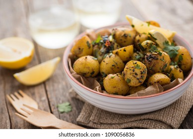 Homemade, fresh Bombay potatoes in a bowl
