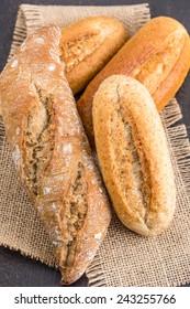 Homemade fresh bread buns, selective focus