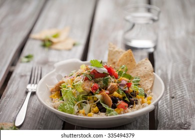 homemade fresh organic chicken chipotle black bean salad bowl horizontal shot