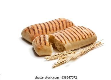 homemade  fresh panini bread isolated on white