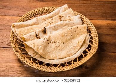 Homemade fresh wheat flour Chapati or roti which is an indian flat bread