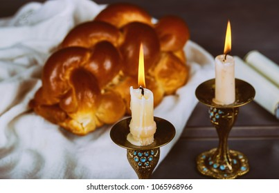 Homemade freshly baked challah for the Holy Sabbath Traditional Jewish Sabbath ritual