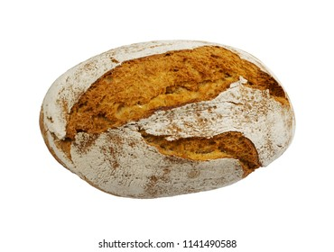 Homemade Freshly Baked Traditional Bread Isolated on White Background Top View with Clipping Path. Whole Loaf of Rustic Italian Cereal Bread Made of Sourdough Dough