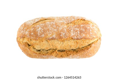Homemade Freshly Baked Traditional Bread Isolated on White Background Top View. Whole Loaf of Rustic Organic Cereal Bread Made of Sourdough Dough