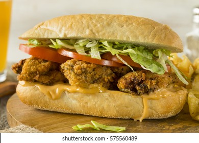 Homemade Fried Oyster Po Boy Sandwich with Lettuce and Tomato