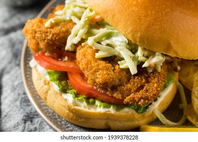 Homemade Fried Soft Shell Crab Sandwich with Chips