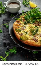Homemade Frittata with mushrooms, broccoli