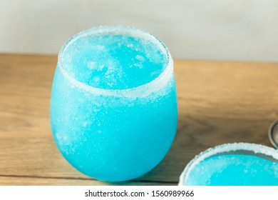Homemade Frozen Blue Jack Frost Cocktail with Lemon and Vodka